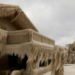 New York houses frozen in ice by water and wind from Lake Erie
